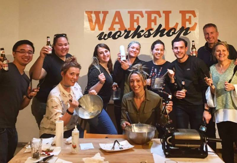 group at the waffle workshop in bruges